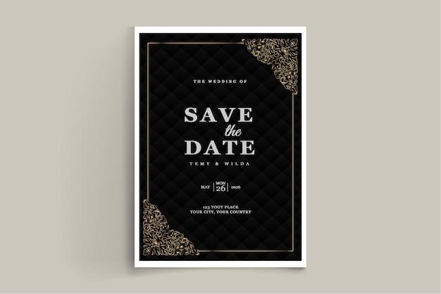 Ensemble de conception de carte d'invitation de mariage de luxe