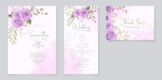 Ensemble de conception de cartes de mariage avec des roses violettes
