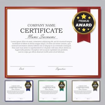 Ensemble de conception de certificat modèle récompense diplôme.