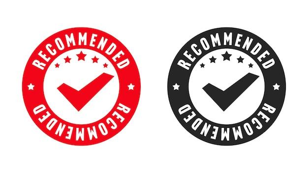 Ensemble de conception de certification de qualité d'origine de timbre recommandé. l'autocollant de pochoir commercial garantit le meilleur choix et l'illustration vectorielle de fiabilité de la marque isolée sur fond blanc