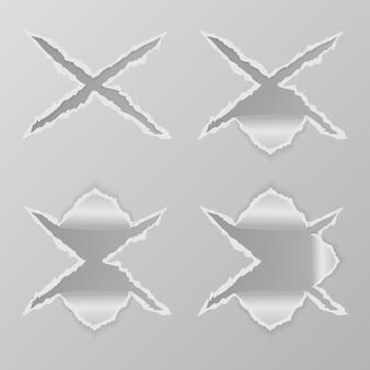 Ensemble de conception de collection de papier déchiré par des trous et des croix