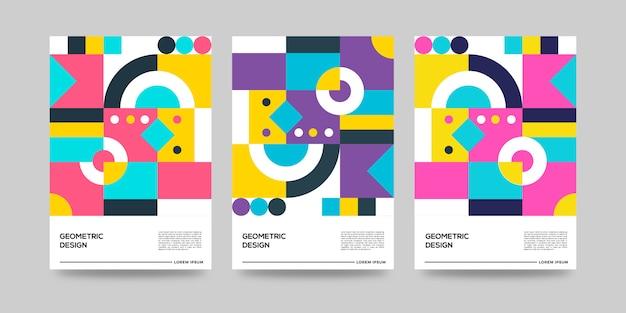 Ensemble de conception de couverture géométrique rétro premium