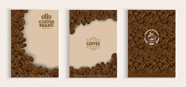 Ensemble De Conception De Couverture De Grains De Café Vecteur Premium