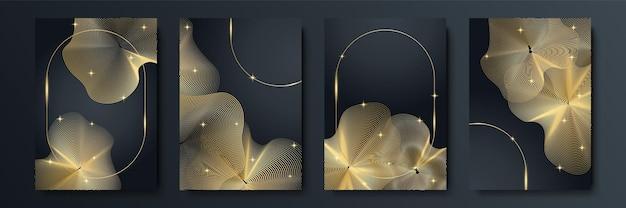 Ensemble de conception de couverture à rayures noires moderne. motif de ligne diagonale dynamique or créatif de luxe. fond de vecteur premium formel pour brochure d'entreprise, affiche, cahier, modèle de menu