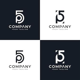 Ensemble de conception créative initiale du logo 5p pour toutes les utilisations