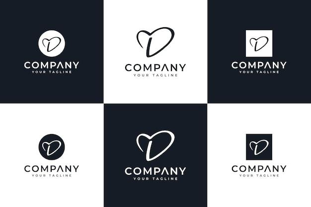 Ensemble de conception créative de logo d'amour de lettre d pour toutes les utilisations
