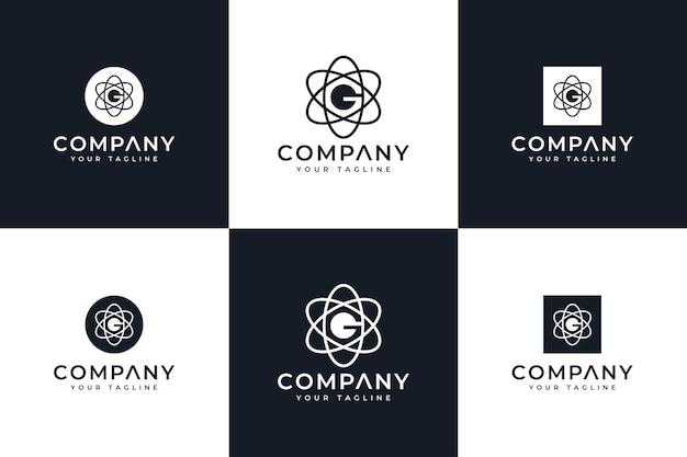 Ensemble de conception créative de logo d'atome de lettre g pour toutes les utilisations