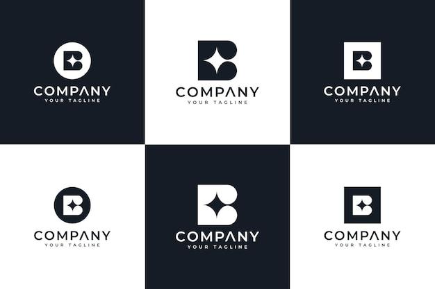 Ensemble de conception créative de logo de brillance de lettre b pour toutes les utilisations