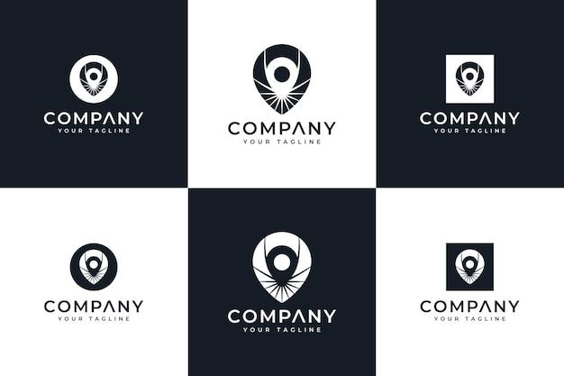 Ensemble de conception créative de logo de carte d'épingle pour toutes les utilisations