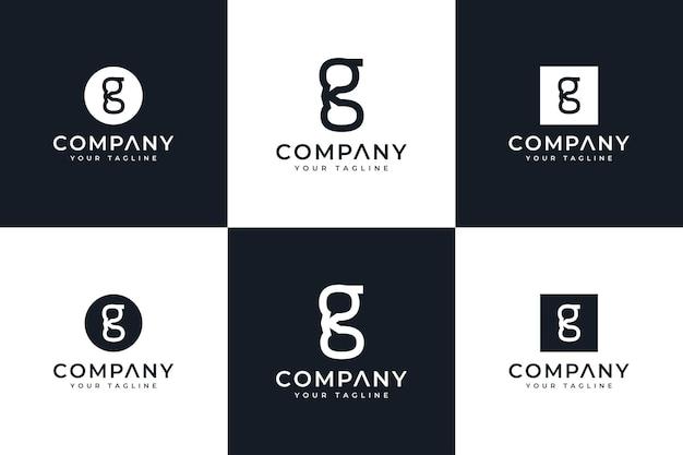 Ensemble de conception créative de logo de chat de lettre g pour toutes les utilisations