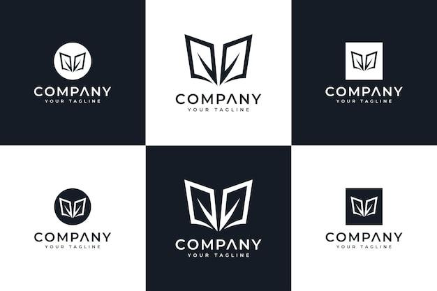 Ensemble de conception créative de logo de feuille de livre pour toutes les utilisations