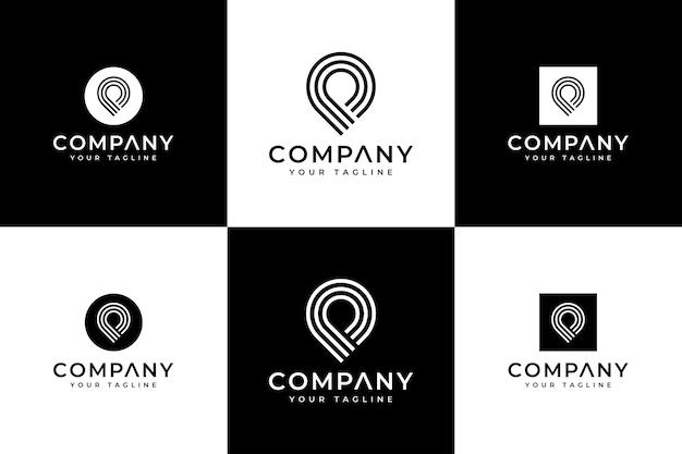 Ensemble de conception créative de logo de goupille de carte de ligne pour toutes les utilisations