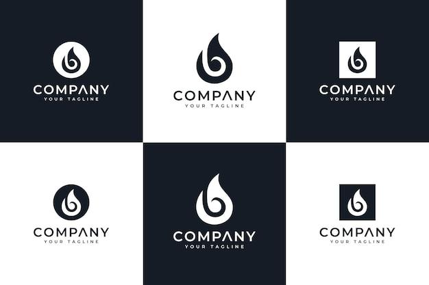 Ensemble de conception créative de logo de gouttes de lettre b pour toutes les utilisations