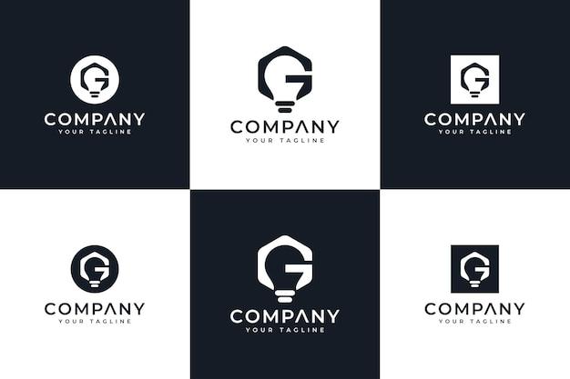 Ensemble de conception créative de logo de lampe de lettre g pour toutes les utilisations