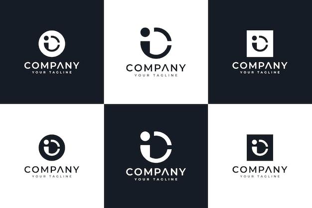 Ensemble de conception créative de logo de lettre ic pour toutes les utilisations