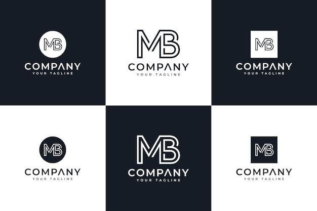 Ensemble de conception créative de logo de lettre mb pour toutes les utilisations