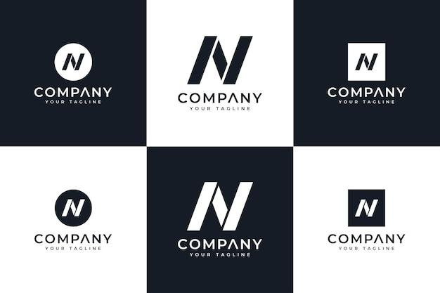 Ensemble de conception créative de logo de lettre n pour toutes les utilisations
