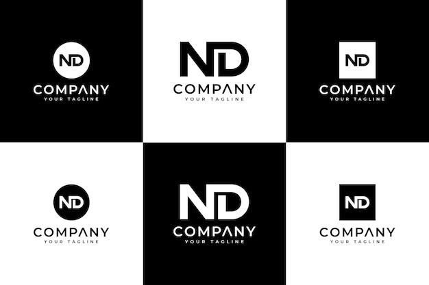 Ensemble de conception créative de logo de lettre nd pour toutes les utilisations