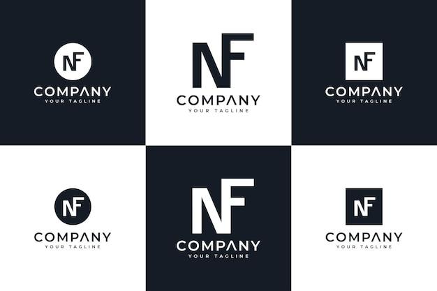Ensemble de conception créative de logo de lettre nf pour toutes les utilisations