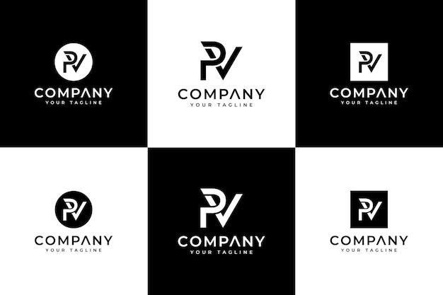 Ensemble de conception créative de logo de lettre pv pour toutes les utilisations