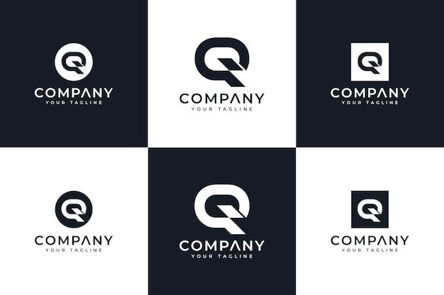 Ensemble de conception créative de logo de lettre q pour toutes les utilisations