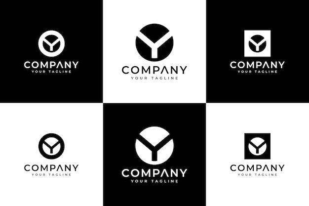 Ensemble de conception créative de logo de lettre y pour toutes les utilisations