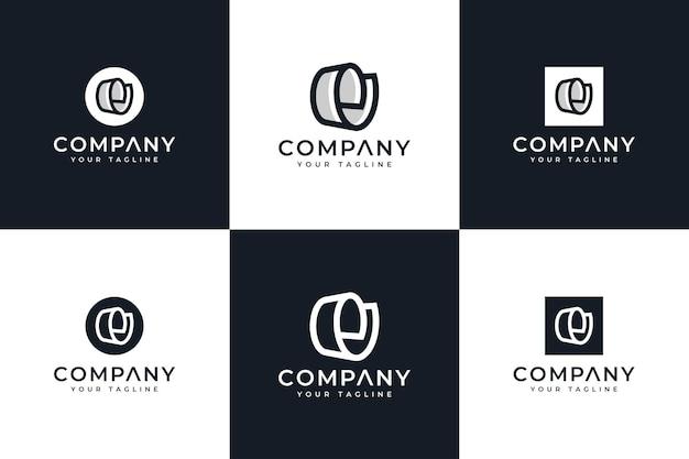 Ensemble de conception créative de logo de papier de lettre e pour toutes les utilisations