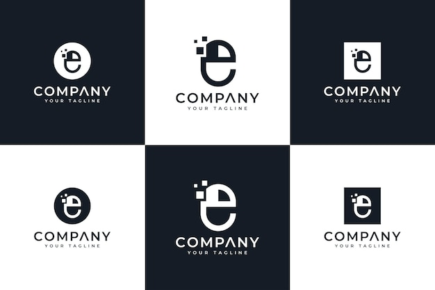Ensemble de conception créative de logo de souris d'ordinateur de lettre e pour toutes les utilisations