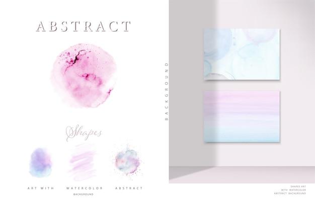 Ensemble de conception décorative de fond pastel d'aquarelle pinceau tache peint à la main. formes d'aquarelle