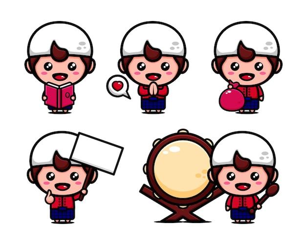Ensemble de conception de dessin animé musulman. enfants musulmans mignons