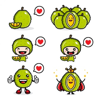Ensemble de conception de durian frais
