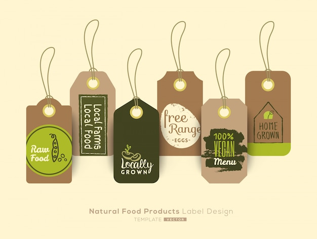 Ensemble de conception d'étiquette et étiquette autocollant d'aliments sains biologiques