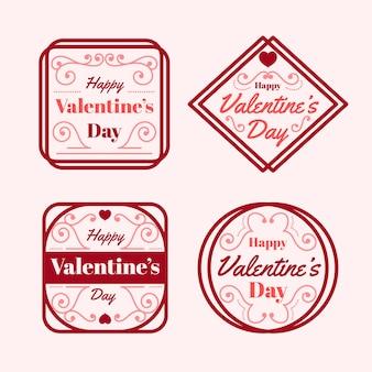 Ensemble de conception d'étiquettes plat saint valentin