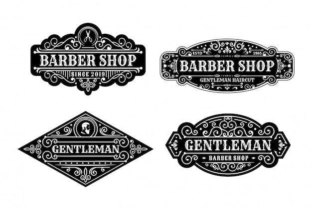 Ensemble de conception d'étiquettes de salon de coiffure vintage, calligraphie et éléments de typographie de style design