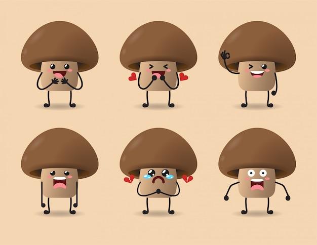 Ensemble de conception d'expression de champignon mignon