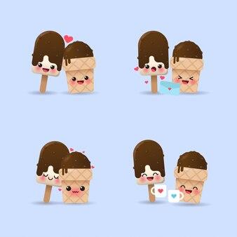 Ensemble de conception d'expression de couple de crème glacée mignonne