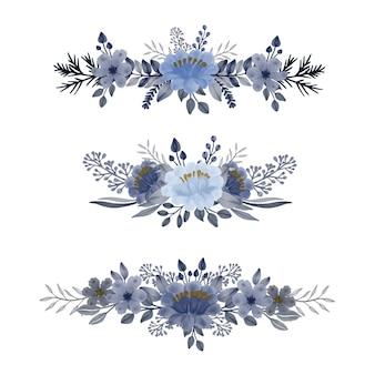 Ensemble de conception florale de bouquet aquarelle bleu