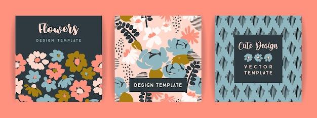 Ensemble de conception florale de vecteur. modèle pour carte, affiche, flyer, décoration intérieure et autre utilisation.
