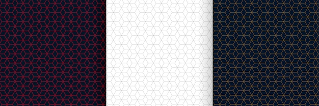 Ensemble de conception de fond motif lignes hexagonales