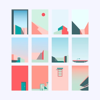Ensemble de conception de fond pastel minimal