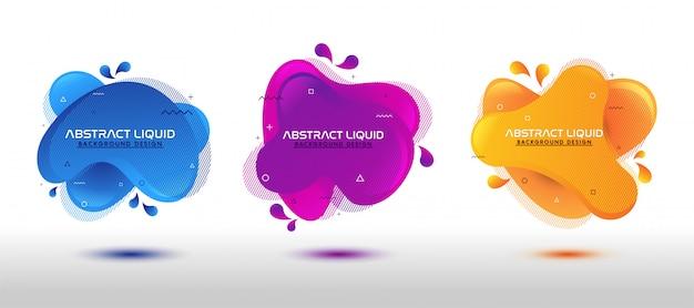 Ensemble de conception de formes colorées liquides abstraites