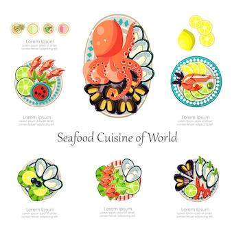 Ensemble de conception de fruits de mer. infographie alimentaire entreprise idée de fruits de mer