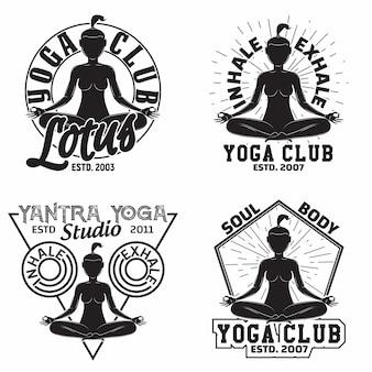 Ensemble de conception graphique de t-shirt vintage, timbres d'impression grange, emblèmes de typographie de club de yoga ou de studio, emblèmes de sport design créatif