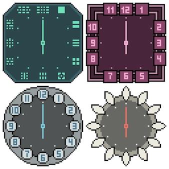 Ensemble de conception d'horloge isolée pixel art