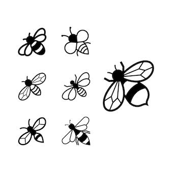 Ensemble de conception d'icônes d'abeille modèle de paquet isolé
