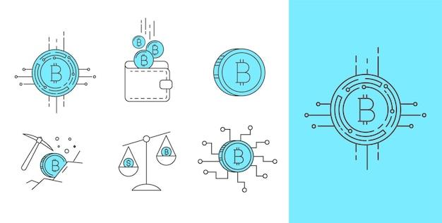Ensemble de conception d'icônes bitcoin et cryptocurrency vector de trait de ligne