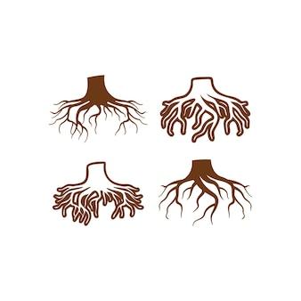 Ensemble de conception d'icônes de racine d'arbre modèle de paquet isolé
