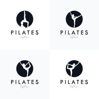 Ensemble de conception d'identité de logo de yoga de pilates
