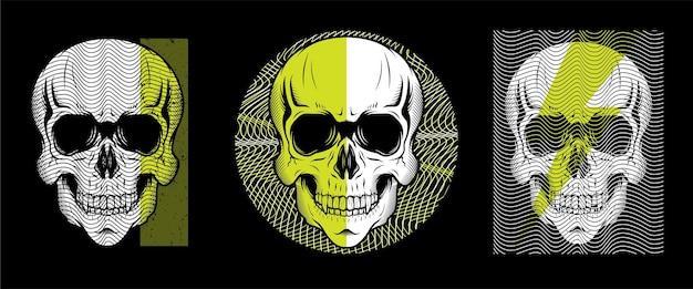 Ensemble de conception d'illustration de style ligne tête de crâne