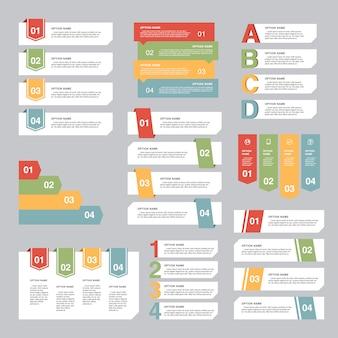 Ensemble de conception infographique, concept d'options. modèle de présentation d'entreprise. illustration vectorielle